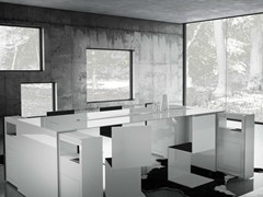 - Rectangular office desk with shelves SUMMARUM - RECHTECK Felix Schwake
