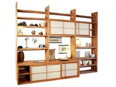 - Freestanding lacquered wooden bookcase HARU A - Cinius