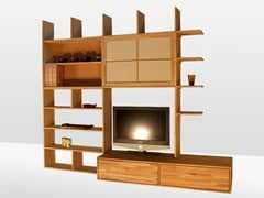 - Freestanding lacquered wooden bookcase HARU C - Cinius
