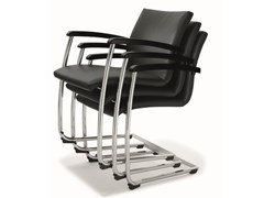- Cantilever stackable leather training chair BUG | Leather chair - BENE
