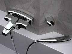 - Wall-mounted bathtub mixer with hand shower ATMOS | Bathtub mixer with hand shower - Remer Rubinetterie