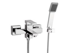 - Wall-mounted chrome-plated bathtub mixer with hand shower QUBIKA | Wall-mounted bathtub mixer - Remer Rubinetterie
