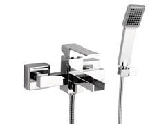 - Wall-mounted bathtub mixer with hand shower QUBIKA CASCATA | Bathtub mixer - Remer Rubinetterie