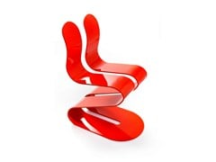 - Ergonomic stackable lacquered chair FLUID RIBBON | Lacquered chair - Lamberti Decor