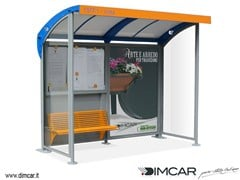 - Steel porch with built-in lights for bus stop Pensilina Romagna con pareti laterali - DIMCAR