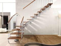 Scala a giorno modulare in acciaio inox e legno GENIUS 020 | Scala a giorno - Fontanot - Albini & Fontanot