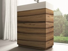 - Single walnut vanity unit CUBIK | Walnut vanity unit - IdeaGroup