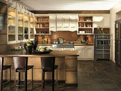 - Cherry wood kitchen with peninsula LIVING CLASSICA CON BRIO - L'Ottocento