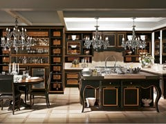 - Cherry wood kitchen with island LIVING EXCELSA - L'Ottocento