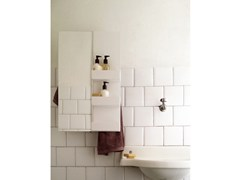 - Electric wall-mounted mirrored towel warmer MIRROR RECTANGLE & SHELVES - mg12