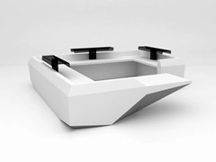 - Modular Solid Surface® reception desk FOLD | Configuration 10 - Isomi