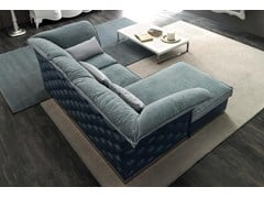- Tufted 3 seater fabric sofa with chaise longue TIAGO | Sofa with chaise longue - CorteZari