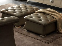 - Tufted upholstered leather pouf PASCAL | Pouf - CorteZari