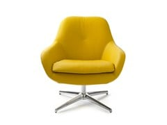 - Swivel leather armchair with 4-spoke base SILENE | Leather armchair - LEOLUX