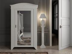Armadio in legno massello con anta singola con specchio