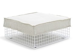 - Upholstered steel pouf GRID | Pouf - Varaschin