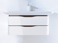 - Wall-mounted vanity unit with drawers PURAVIDA | Wooden vanity unit - DURAVIT