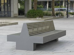 - Stainless steel and PET Bench with back COMFONY 800 | Bench - BENKERT BÄNKE