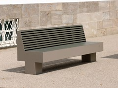 - Stainless steel and PET Bench with back COMFONY 800 | Bench with back - BENKERT BÄNKE