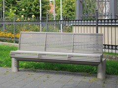- Stainless steel Bench with back SIARDO 600 R | Bench with back - BENKERT BÄNKE