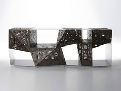 - Aluminium and wood sideboard RIDDLED BUFFET - HORM.IT