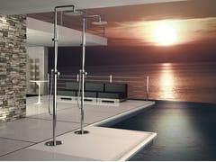 - Floor standing chromed brass shower panel with diverter with overhead shower MINIMAL | Floor standing shower panel - Remer Rubinetterie