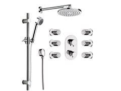 - Chromed brass shower wallbar with hand shower with overhead shower MINIMAL THERMO | Shower wallbar - Remer Rubinetterie