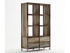 - Freestanding wooden bookcase with drawers AK- 14 | Open bookcase - KARPENTER