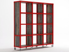 - Freestanding wooden bookcase with casters AK- 14 | Wooden bookcase - KARPENTER