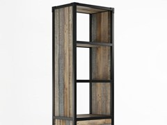 - Contemporary style freestanding double-sided wooden bookcase with drawers AK- 14 | Bookcase with casters - KARPENTER