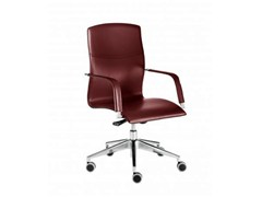 - Tanned leather executive chair with 5-spoke base with casters LAYLA | Executive chair - Castellani.it