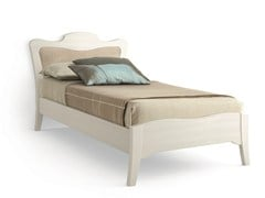 - Wooden single bed with upholstered headboard ARCANDA | Wooden bed - Scandola Mobili