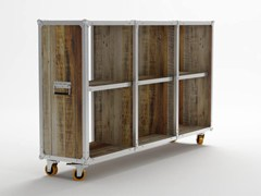 - Open wooden bookcase with casters ROADIE | Bookcase with casters - KARPENTER