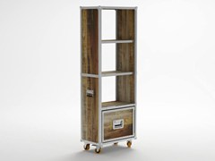 - Freestanding wooden bookcase with drawers with casters ROADIE | Bookcase with casters - KARPENTER