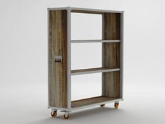 - Open wooden bookcase with casters ROADIE | Open bookcase - KARPENTER