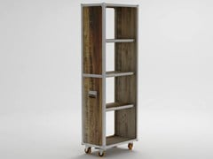 - Freestanding wooden bookcase with casters ROADIE | Freestanding bookcase - KARPENTER