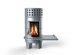 - Wood-burning ceramic stove ROUNDSTACK SIDE - LA CASTELLAMONTE STUFE