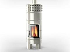 - Wood-burning ceramic stove ROUNDSTACK 2°SIZE - LA CASTELLAMONTE STUFE