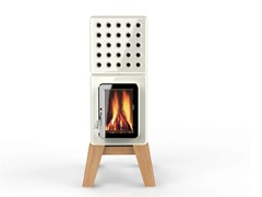 - Wood-burning ceramic stove CUBISTACK WOOD - LA CASTELLAMONTE STUFE