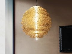 - Halogen gold leaf pendant lamp TRESOR | Gold leaf pendant lamp - TERZANI