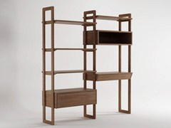 - Open wooden bookcase with drawers K/WSU | Freestanding bookcase - KARPENTER