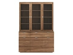 - Wood and glass highboard TEAK GROOVE | Highboard - Ethnicraft