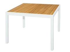 - Square aluminium and wood garden table ALLUX | Dining Table 100x100 cm - MAMAGREEN