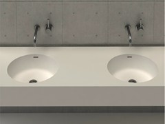 - Round wall-mounted washbasin with integrated countertop CIRCLE DESK D - DIMASI BATHROOM by Archiplast