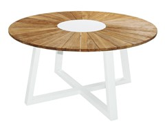 - Round aluminium and wood garden table BAIA | Round table - MAMAGREEN