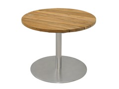 - Round stainless steel and wood garden side table with 4-star base GEMMY LOUNGE Ø 60 CM - MAMAGREEN
