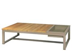- Rectangular aluminium and wood garden side table with ice bucket MONO | Coffee table with ice bucket - MAMAGREEN