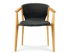 - Teak garden chair with armrests KNIT | Chair with armrests - Ethimo
