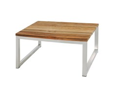 - Square stainless steel and wood garden side table OKO | Coffee table - MAMAGREEN