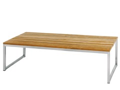 - Rectangular stainless steel and wood garden table OKO | Table 275x90 cm - MAMAGREEN